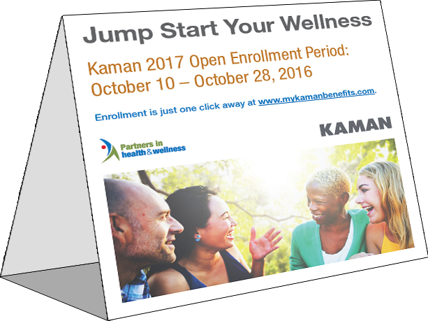 2017 Kaman Benefits Open Enrollment Table Tent